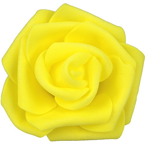 Lightingsky 7cm DIY Real Touch 3D Artificial Foam Rose Head Without Stem for Wedding Party Home Decoration (100pcs, Yellow)