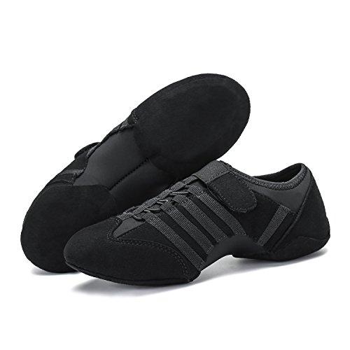 Sneaker Schuhe Damen mit Dance Tanz katliu Herren Jazz Klettverschluss Flach Weich Ballet Gymnastik Jazzdance Schuhe Trainings Schwarz 8nCUq4wxO