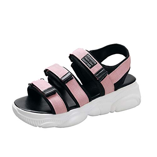 Sports Neutral Heel - Fastbot Women's Summer Sandals Open Toe Casual Comfort Ladies Sport Neutral Letter Flat with Beach Shoes Pink