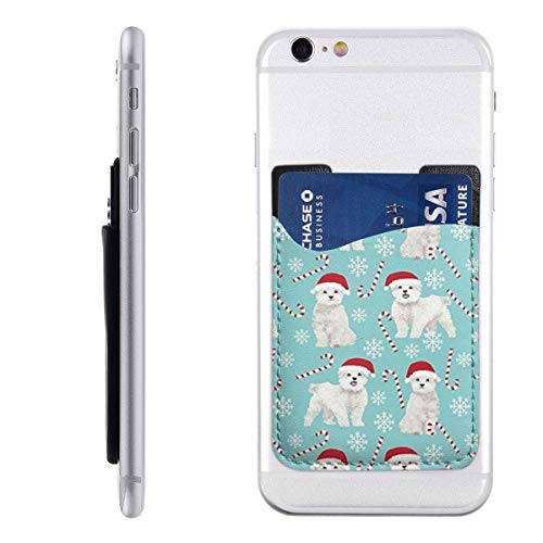 Cute Maltese Christmas Fabric Cell Phone Stick On Card Wallet Sleeve,Credit Cards/ID,for Back of iPhone,Android and All - Christmas Cards Maltese