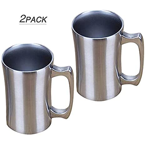 655de581fe6 Insulated Cup, 2 Pack, OrgMemory Stainless Steel Coffee Mug, 15 oz Coffee  Mug