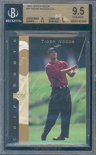 (2003 upper deck #91 TIGER WOODS golf BGS 10 9 9.5 10 Graded Card)