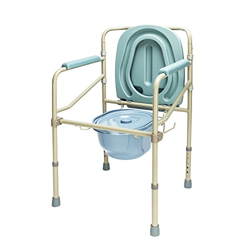 Mefeir Commode Toilet Potty Chair Heavy Duty Steel 330LBS, FDA Medical Folding Supply with Safety Frame Rails Bedside, for Senior with Commode Bucket 3 In1 Upgraded (330LBS) from mefeir