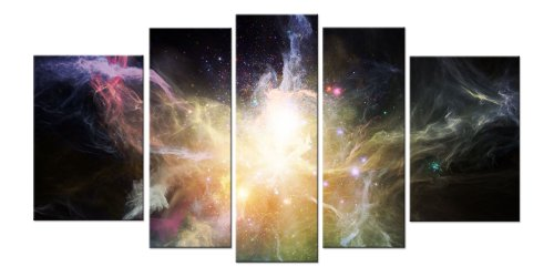 Startonight Glass Wall Art Acrylic Decor Galaxy, and a Contemporary Clock Set of 5 Total 35.43 X 70.87 Inch 100% Original Abstract Artwork the Ultimate Wall Art by Glass Wall Art