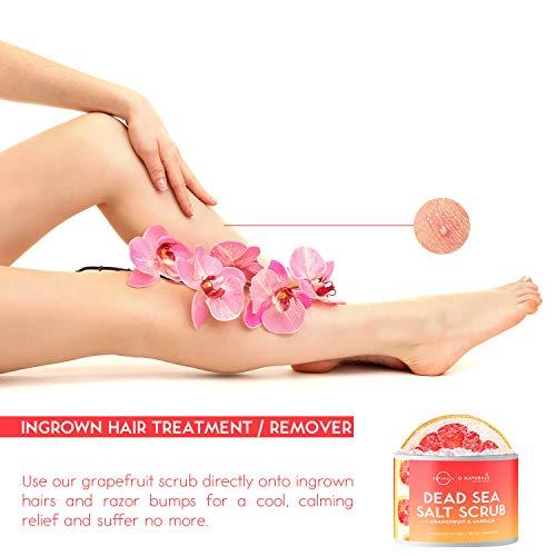 O Naturals Exfoliating Dead Sea Salt Grapefruit Essential Oil Face Body & Foot Scrub. w/ Vanilla &. Hydrating Exfoliate…