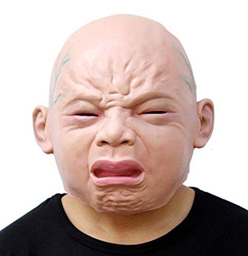 Waylike Trendy Genuine Latex Scary mask Costume Halloween Creepy Cry Baby Mask(Cry Baby) -