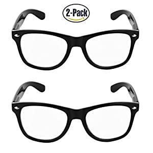 SunnyPro Wayfarer Clear Lens Glasses Pack of Two UV 400 Protection (Black 2 pack, 53)
