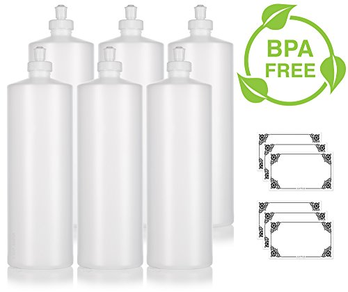 Clear Natural Refillable Plastic Squeeze Bottle with Push Pull Cap Dispenser 32 oz Extra Large - (6 Pack) + Labels