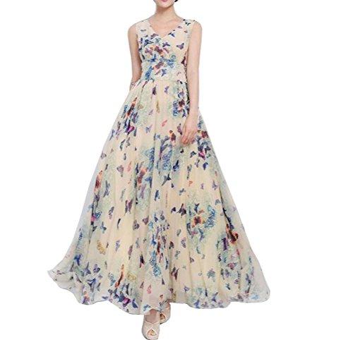 [Nanxson(TM) Women's Ladies Evening Party Chiffon Long Maxi Dress LYQ0194 (XXL, bluebf)] (Cheap Plus Size Fancy Dress)
