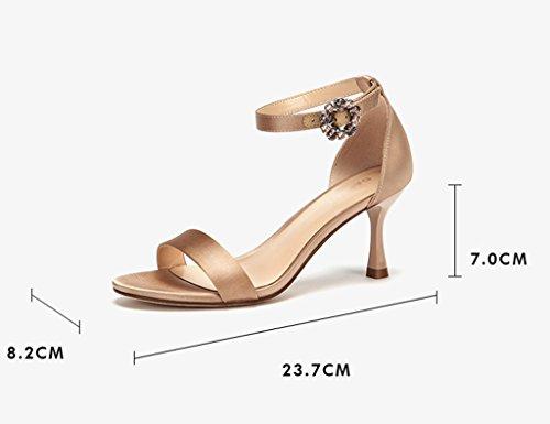 Zcjb Sko Høj Hæl Åben Tå Sko Sommer Ord Bælte Fine Hæle Rene Farve Mode Sandaler Til Kvinder (farve: Sort, Størrelse: 37) Abrikos