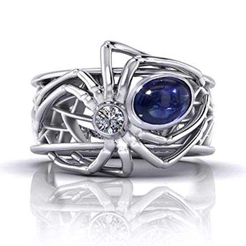 - DesirePath Charming Ring Women Creative Jewellery Spider Stretch Rings Silk Scarf Clasp Clip Buckle Blue