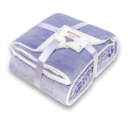 KOYOU Super Soft Lilac Purple Plush Sherpa Borrego Blanket Throw Queen or Full Size Bed