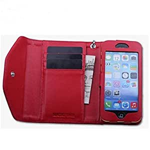 DUR Woman Wallet Design Genuine Red Cow Leather Case with Coin Bag Cash Slot for iPhone 5/5S/5C , Red