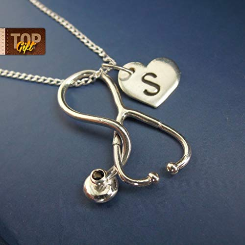 Medical Gifts RN Personalized Sterling Silver Stethoscope Charms Nurse Necklace with Initial Medical Student Graduation Nursing School Student Handmade Doctor Jewelry ()