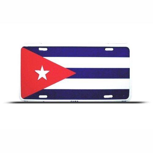 Cuba Flag License Plate (Cuba Cuban Flag Metal License Plate Wall Sign Tag)