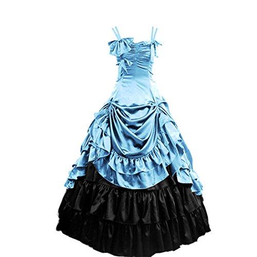 [Partiss Women's Classic Lolita Fancy Dress Cosplay Costume Free Petticoat, S, Light Blue] (Blue Fancy Dress Costumes)