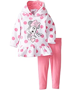 Baby Girls' Minnie Mouse 2 Piece Polka Dot Fleece Set