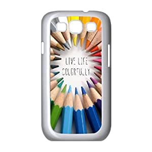 Samsung Galaxy S3 9300 Cell Phone Case White quotes live life colorfully GY9212312