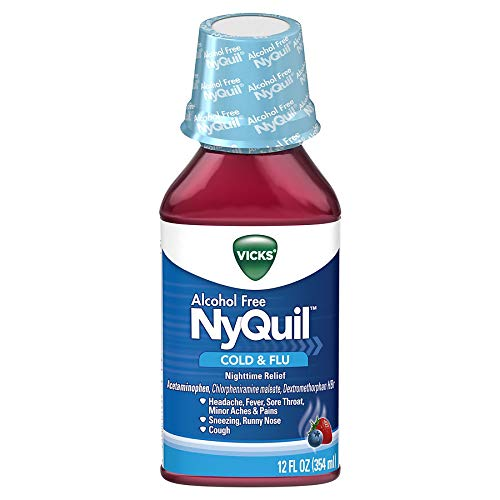 Vicks NyQuil Cold & Flu Alcohol Free Berry Flavor - 12 oz, Pack of 2