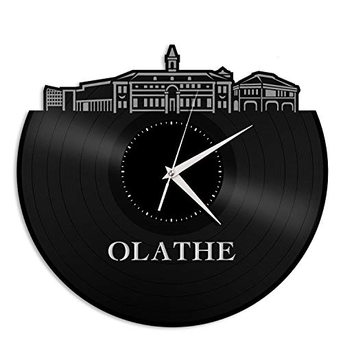 VinylShopUS - Olathe KS Vinyl Wall Clock City Skyline Souvenir Best Gift for Friends | Home Office and Bedroom Anniversary Decoration