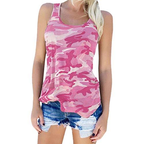 Women Camouflage Plus Size Tank Top Printed Sleeveless O-Neck Blouse Shirt Vest