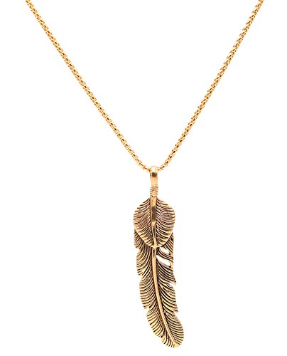 Censtusllery Punk Titanium Steel Feather Pendant Chain Necklace(Gold)