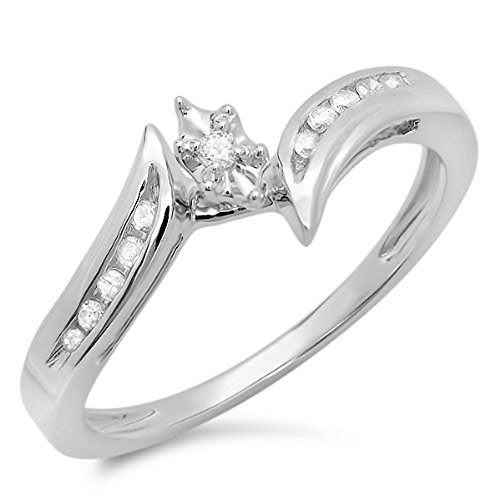 010-Carat-ctw-10k-White-Gold-Round-Diamond-Ladies-Bridal-Marquise-Shaped-Bypass-Promise-Ring-110-CT