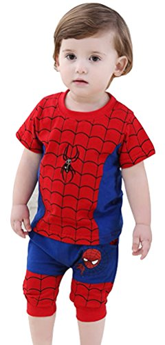 Little Baby Kids Spider Man 2 Pieces Set of Short Sleeve T- shirt and Short Pants (Spiderman Cosplay For Sale)