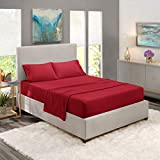 Nestl Bedding Soft Sheets Set - 4 Piece Bed Sheet Set, 3-Line Design Pillowcases - Easy Care, Wrinkle Free - Good Fit Deep Pockets Fitted Sheet - Warranty Included - Queen, Burgundy Red