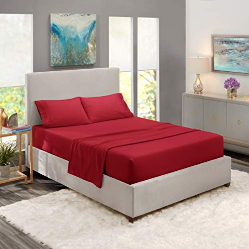 Nestl Bedding Soft Sheets Set - 4 Piece Bed Sheet Set, 3-Line Design Pillowcases - Easy Care, Wrinkle Free - Good Fit Deep Pockets Fitted Sheet - Warranty Included - Queen, Burgundy Red (Sheets Queen Red)