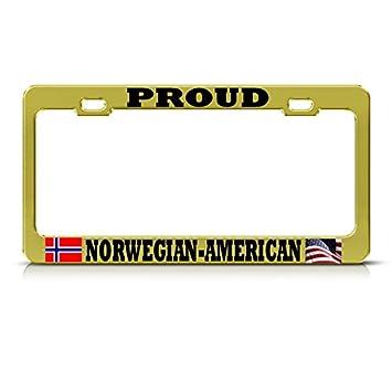 Moon Marco de matrícula de Oro Noruego Americano Proud con ...