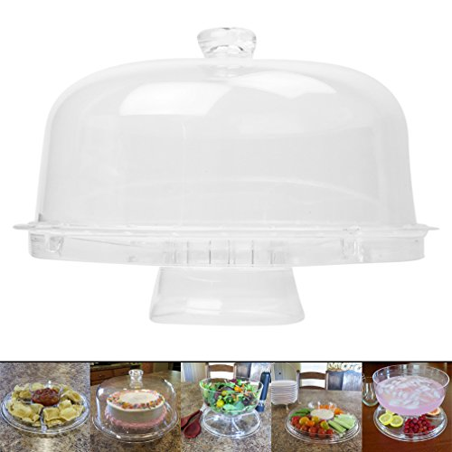 Evelots 6-in-1 Acrylic Cake Stand Multifunctional Serving Platter With (Acrylic Cake Stand)