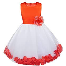 iiniim Girls Petals Tulle Princess Wedding Pageant Party Flower Girl Dress Orange Petals 4