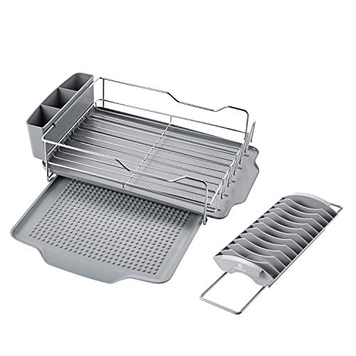 Stainless Steel Dish Drying Rack with Expandable Over sink Dish rack, Utensil Holder, Drip Tray, Drainboard for Kichen Counter 112054
