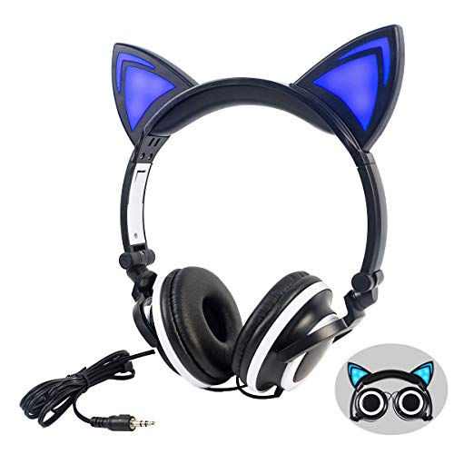 Headphone Cat Ear Headset, Foldable LED Light Cosplay Flash Earphone for Teens Girls Boys,Compatible for iPad,Tablet…
