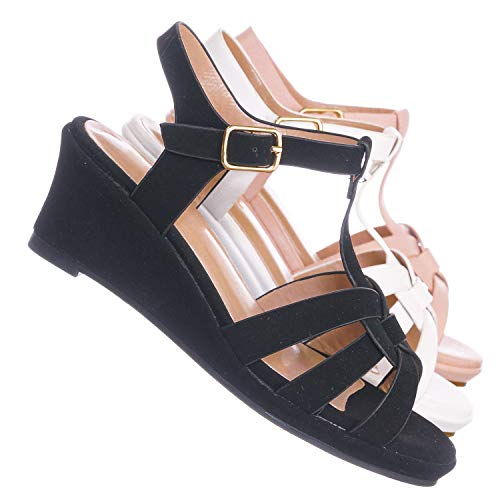 White T-strap Doll Shoes - Aquapillar Kids Gladiator Wedge Heel Sandal - Children Girl T-Strap Open Toe Shoe