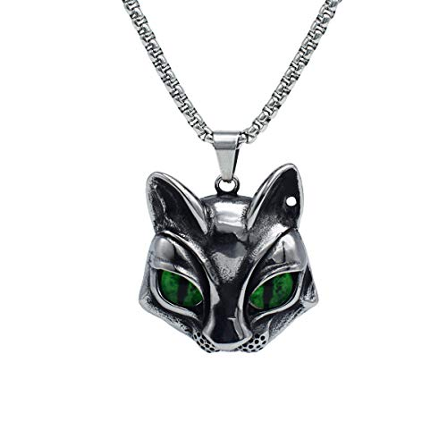 Cat Pendant Head - IFUAQZ Men's 316L Stainless Steel Vintage Gothic Cat Head Eye Pendant Necklace Evil Eye, Green Eye