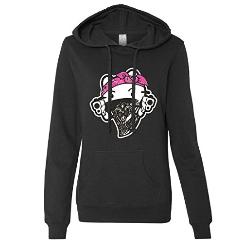 Hello Kitty Gangster Thug Ladies Lt./Wt. Hoodie - Black XX-Large (Hello Kitty Gangster)
