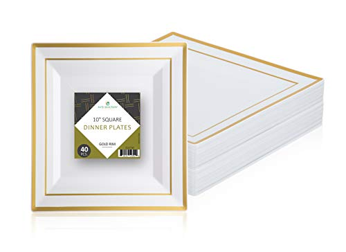Disposable Plastic Plates Pack Of (40) Elegant Dinner Plates - Square Plates - Wedding- Cake Plates - Party Plates-Fancy Disposable - White With Gold Rim - Catering - Heavy Duty ()
