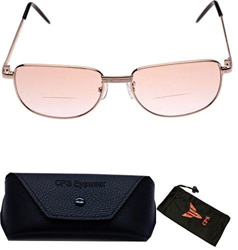 (#C05) 1 Pair Men Women Unisex Bifocal Metal and Tinted Frame Reading Glasses Sun Reader Sunglasses Oval Shape Multipurpose UV100 (Strength: - For Shape Oval Sunglasses
