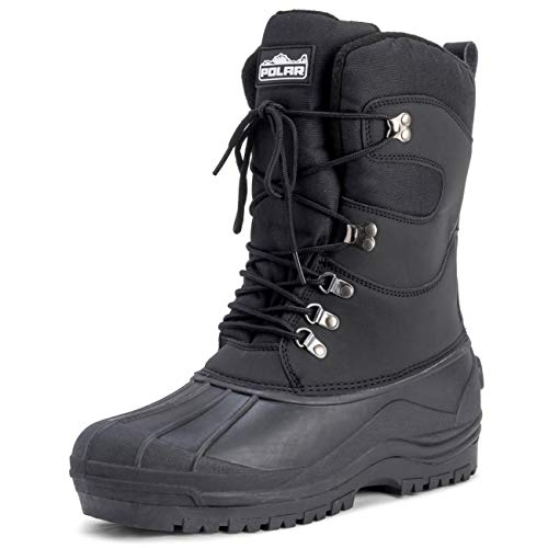 POLAR Mens Snow Hiking Mucker Duck Grafters Waterproof Saftey Thermal Boots - Black - US13/EU46 - YC0445