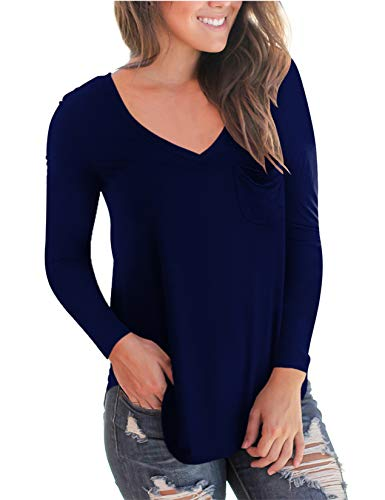Womens Tops and Blouses V Neck Long Sleeve Solid Color with Pocket Royal Blue M