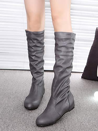 Boots Alti di Moda Grigio Pieghettati Casual Autunno Stivali Stivali Pelle Stivali Inverno Donna Minetom da Gli XXq60