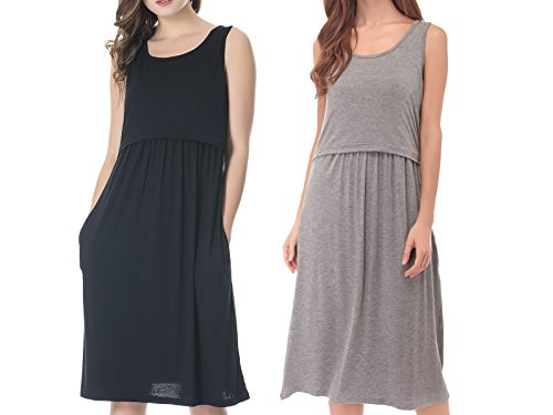 Bearsland Womens Sleeveless Maternity Dress Empire Waist Nursing Breastfeeding Dress Summer, Black+Gray, Medium