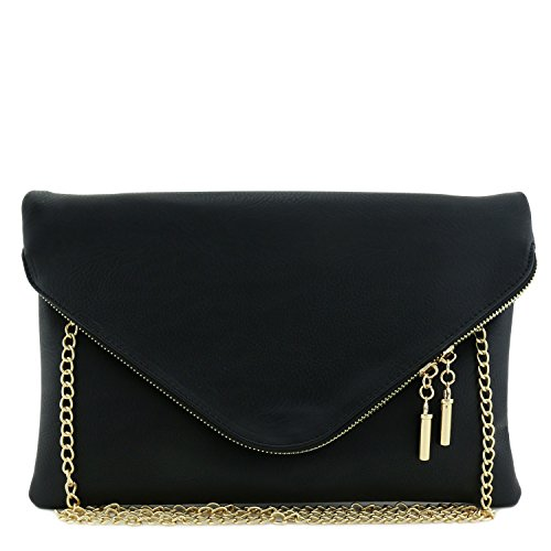 - Large Envelope Clutch Bag with Chain Strap Black