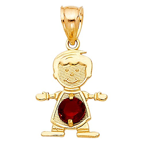 - 14K Yellow Gold January Birthstone Cubic Zirconia CZ Boy Charm Pendant For Necklace or Chain