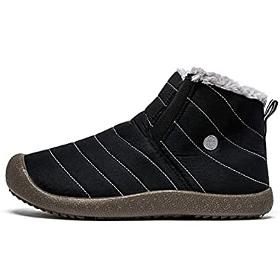 BINSHUN Winter Shoes Snow Boots for Men Waterproof Casual Slip on Cloth Sneakers Anti-Slip Lightweight Ankle Booties Full Fur Black Size: 7