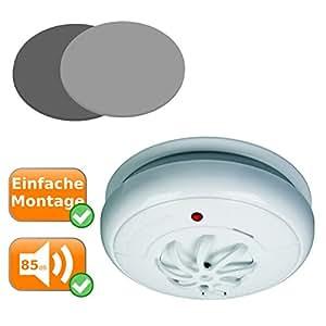 Juego de 3 detectores de calor con señal de alarma de 85 dB, sensor de calor sensible a más de 57 °C + montaje magnético: Amazon.es: Hogar