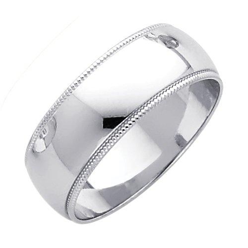 14k White Gold Plain Milgrain Dome Wedding Heavy Ring Band Polished Finish, 7 mm, Size 9.5