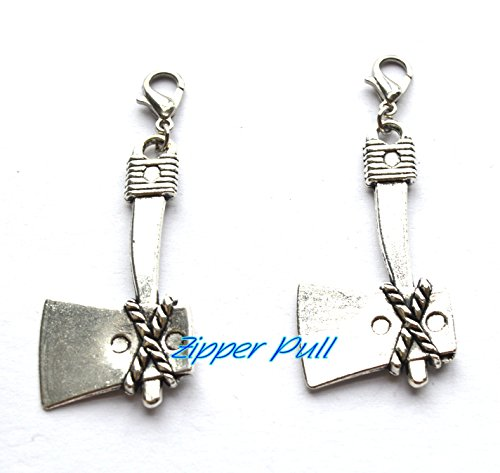 Hatchet Pendants Antique Silver Tone 2 Sided,Zipper Pull, Perfect for Necklaces, Bracelets , keychain and (Antiqued Mens Wedding Ring)